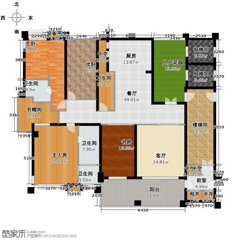 美的御海东郡169.00㎡B1-5、6座奇数层0户型3室2厅3卫