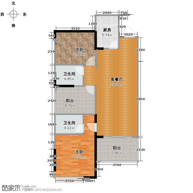 万科沁园98.00㎡&nbsp&nbsp三期公园里馨苑01/02单元户型2室1厅2卫1厨