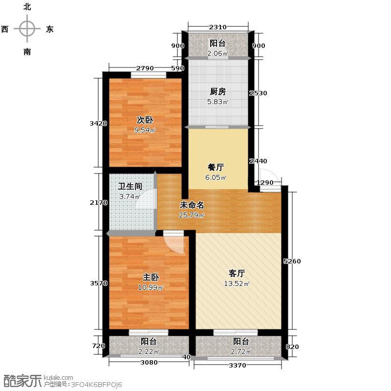 金沙岭�73.00㎡多层B1户型2室2厅1卫