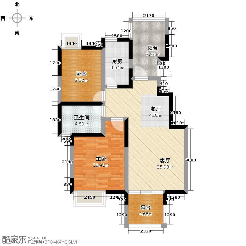 蓝谷地二期90.00㎡三期A-2型简约派户型1室1厅1卫1厨