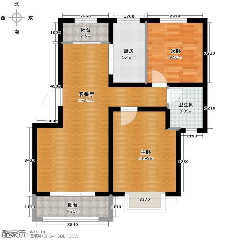 碧桂园银河城85.00㎡锦园J490-1户型2室2厅1卫
