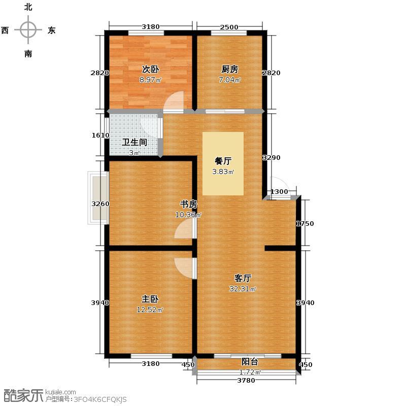 漾日华庭101.00㎡户型3室1厅1卫1厨