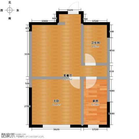万科公园大道1室2厅1卫0厨56.00㎡户型图