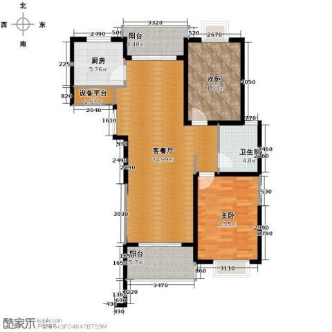 滨湖品阁2室1厅1卫1厨114.00㎡户型图