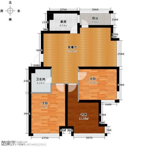 宏发长岛3室2厅1卫0厨89.66㎡户型图