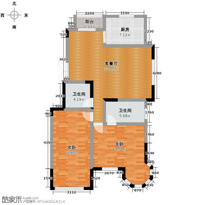 上和园著101.16㎡7#一单元01室2室户型2室2厅2卫