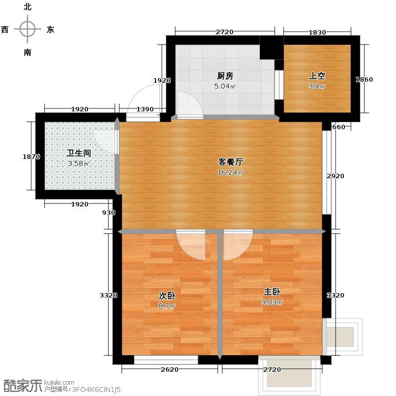 乐城56.01㎡户型2室2厅1卫