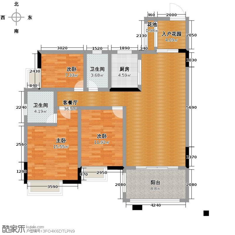 尚观御园130.00㎡三期33座04单位户型3室2厅2卫