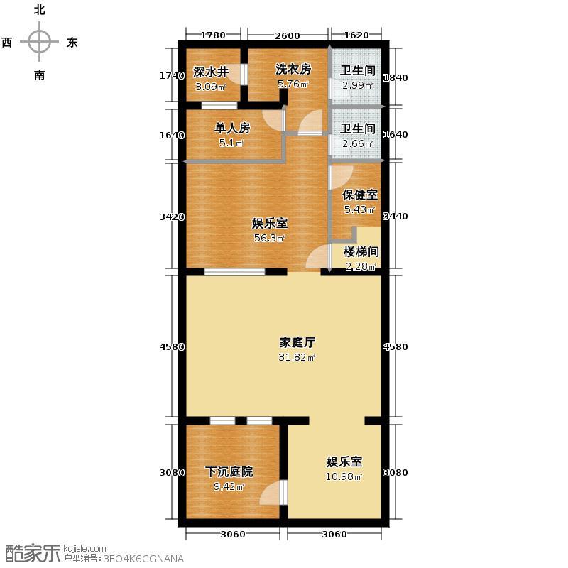 阳光100果岭公馆87.00㎡B2-B5b之地下室平面图户型10室