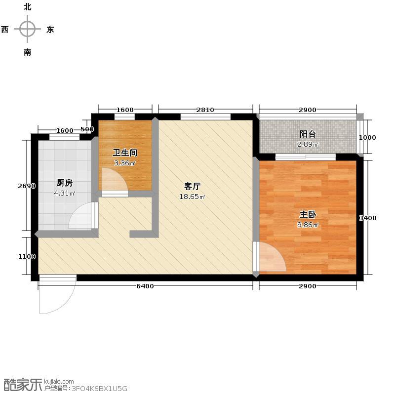 裕馨城二期57.30㎡g户型1室1厅1卫
