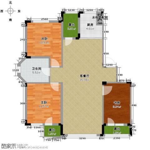 绿地国际花都3室1厅1卫1厨117.00㎡户型图