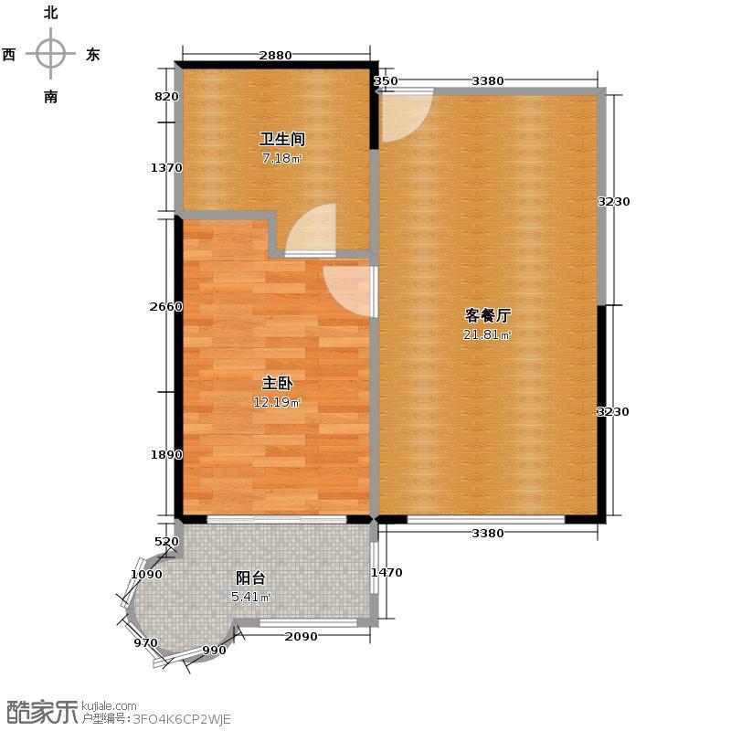 中信山语湖60.39㎡1座(7-21F)03单位户型1室1厅1卫