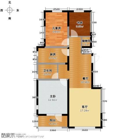万科公园大道3室2厅1卫0厨100.00㎡户型图