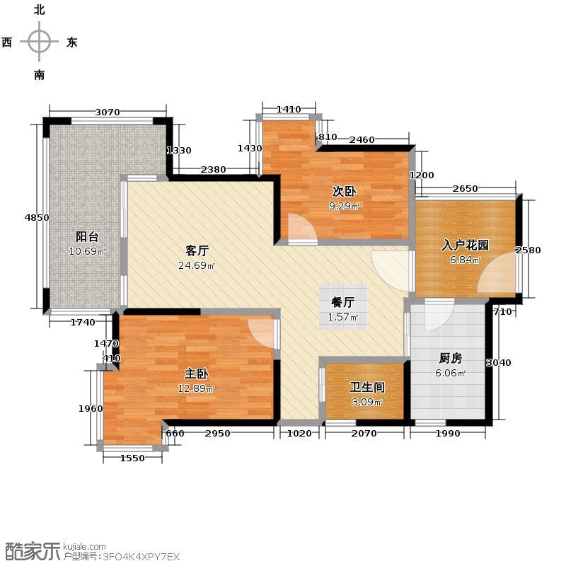 蓝光富丽东方78.00㎡D2偶数层户型2室1厅1卫1厨