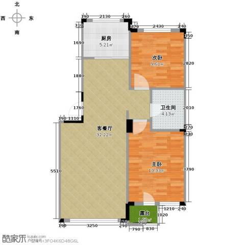 绿地国际花都2室1厅1卫1厨90.00㎡户型图