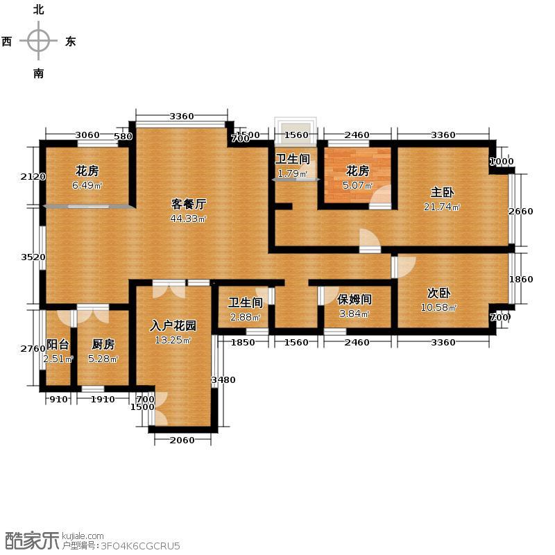 版筑翠园142.30㎡D户型2室2厅2卫