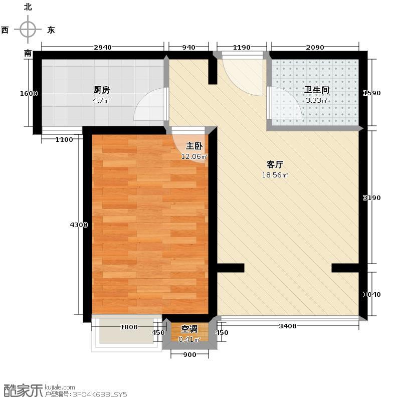 晟地丽江56.00㎡4号楼标准层K户型1室1厅1卫