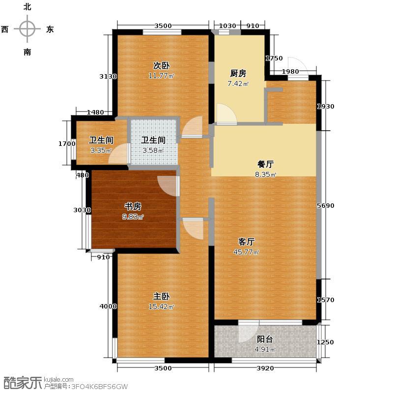 万科公园大道115.00㎡C1户型3室2厅1卫