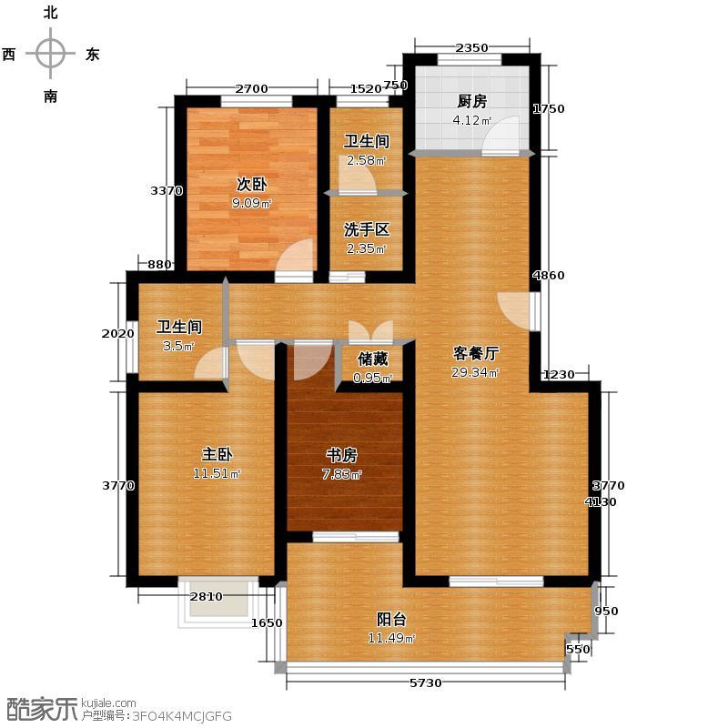 丽湾岛116.84㎡5#楼标准层户型3室1厅2卫1厨