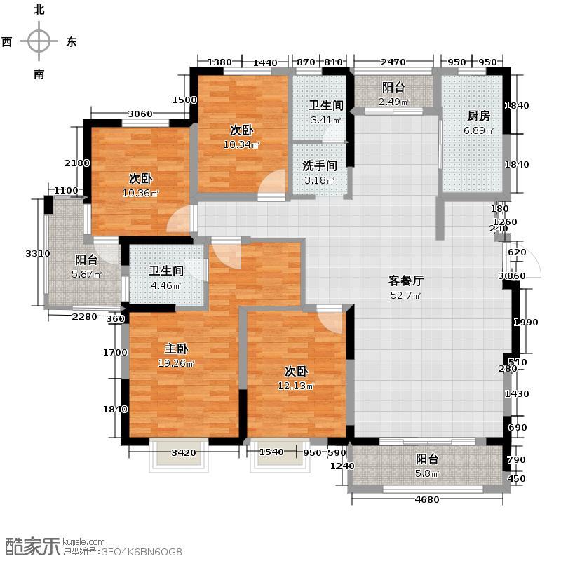 中电颐和家园156.00㎡F户型4室2厅2卫