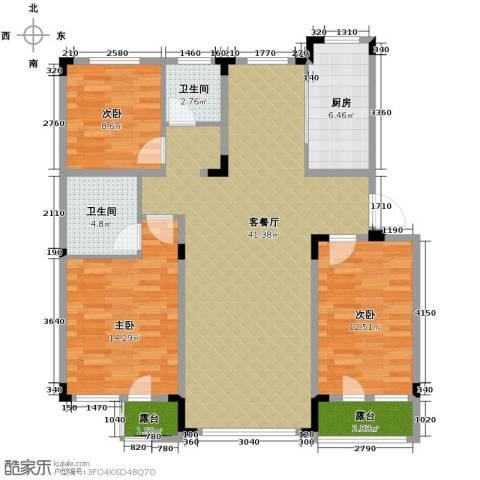 绿地国际花都3室1厅2卫1厨133.00㎡户型图