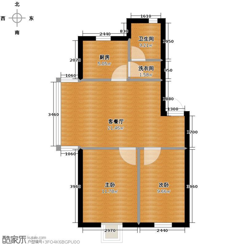 加华小城76.00㎡户型2室1厅1卫1厨
