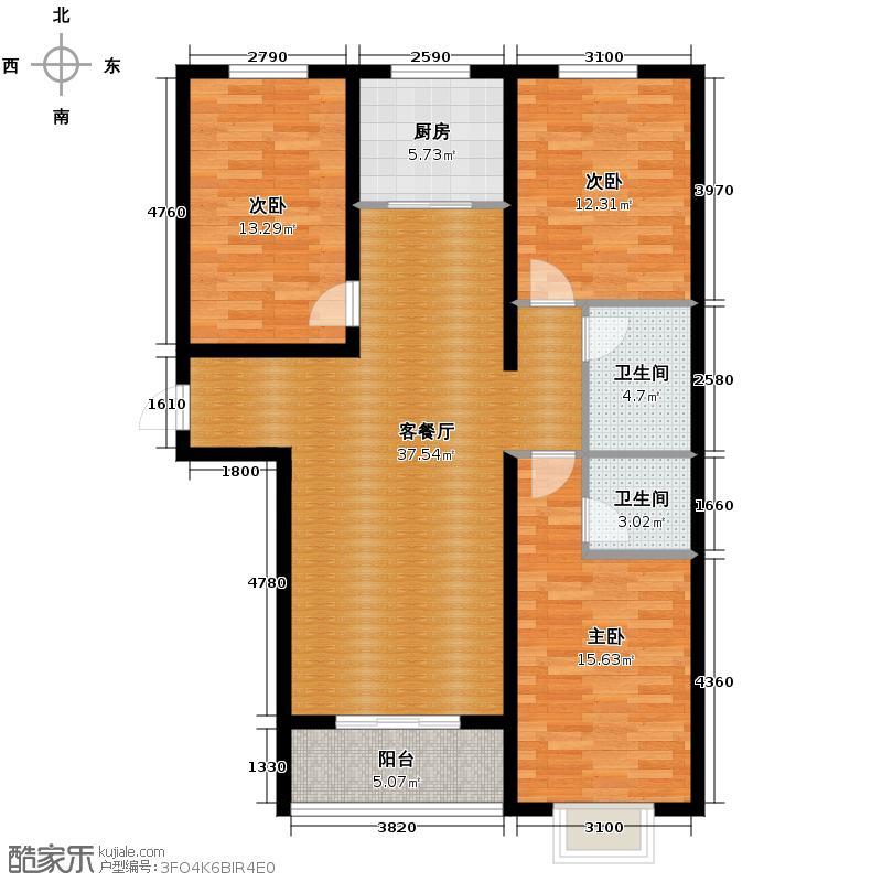 北宁湾138.19㎡E户型3室1厅2卫1厨