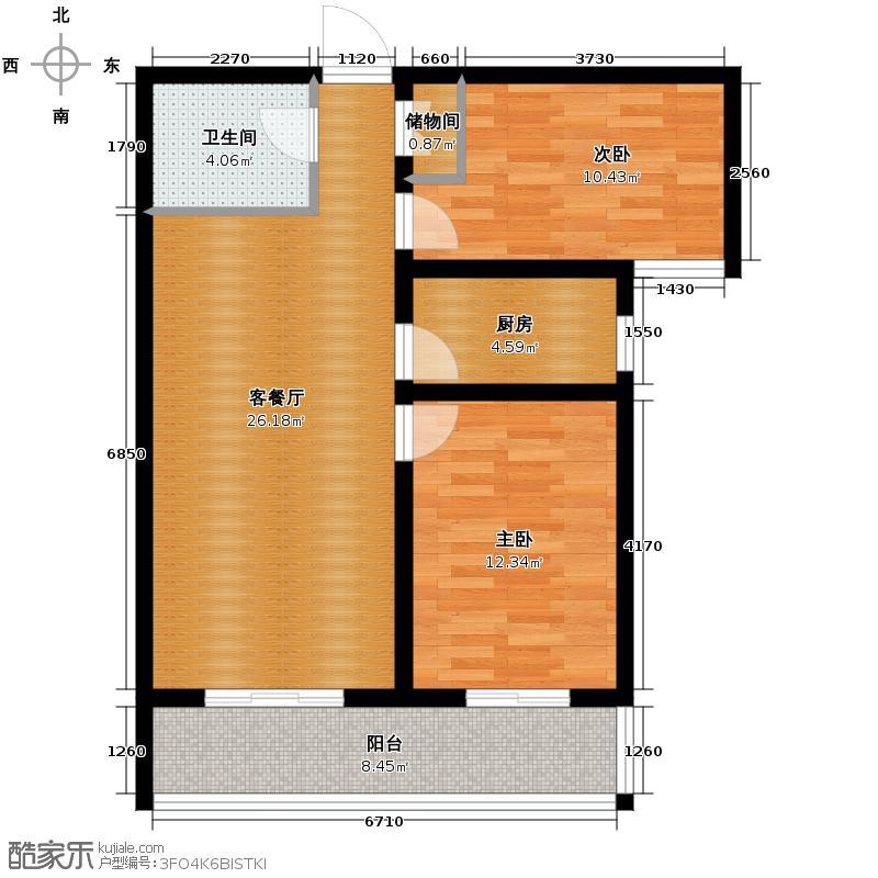 北宁湾94.06㎡D户型2室1厅1卫1厨