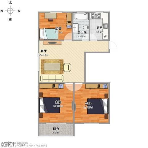 罗南二村3室1厅1卫1厨91.00㎡户型图
