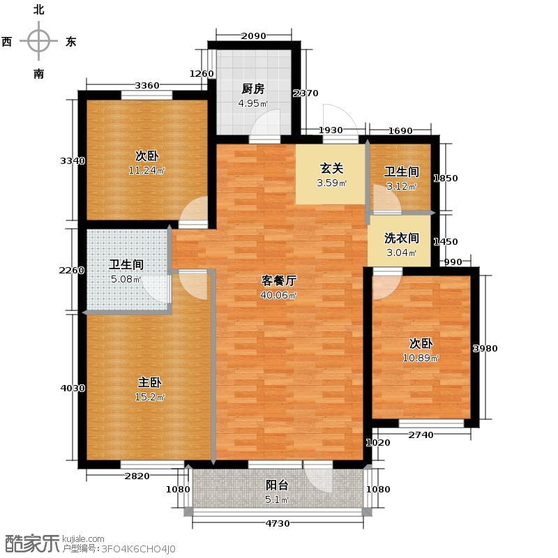 铁西万达广场132.99㎡C6-4户型3室1厅2卫1厨