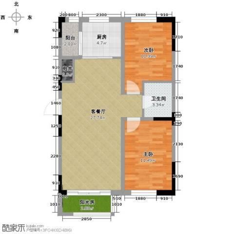 众诚一品东南2室1厅1卫1厨84.00㎡户型图
