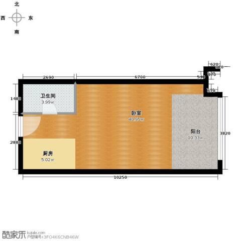 恒盛皇家花园1室0厅1卫0厨45.00㎡户型图