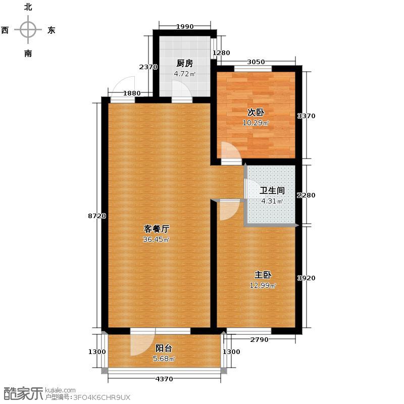 铁西万达广场84.29㎡户型2室1厅1卫1厨