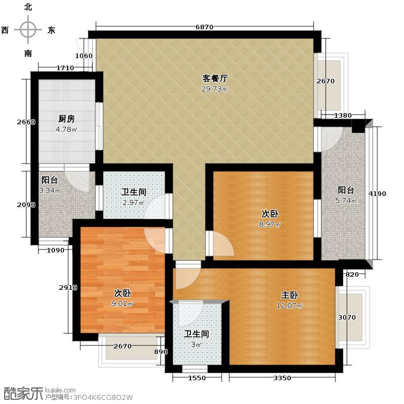 戎锦花园93.24㎡户型3室1厅2卫1厨