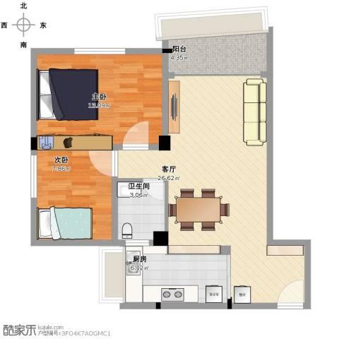 北园新村2室1厅1卫1厨86.00㎡户型图