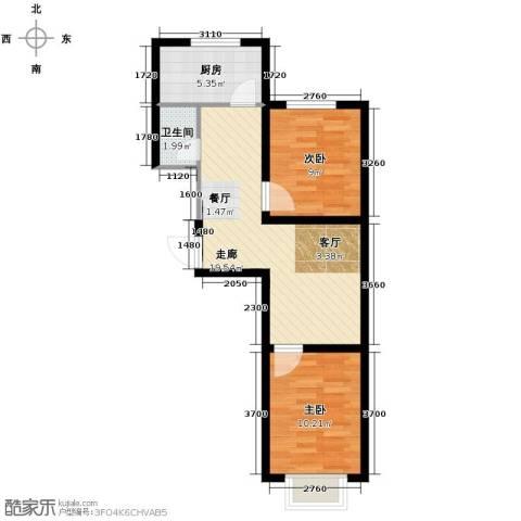 瀛滨寓家园2室0厅1卫1厨65.00㎡户型图