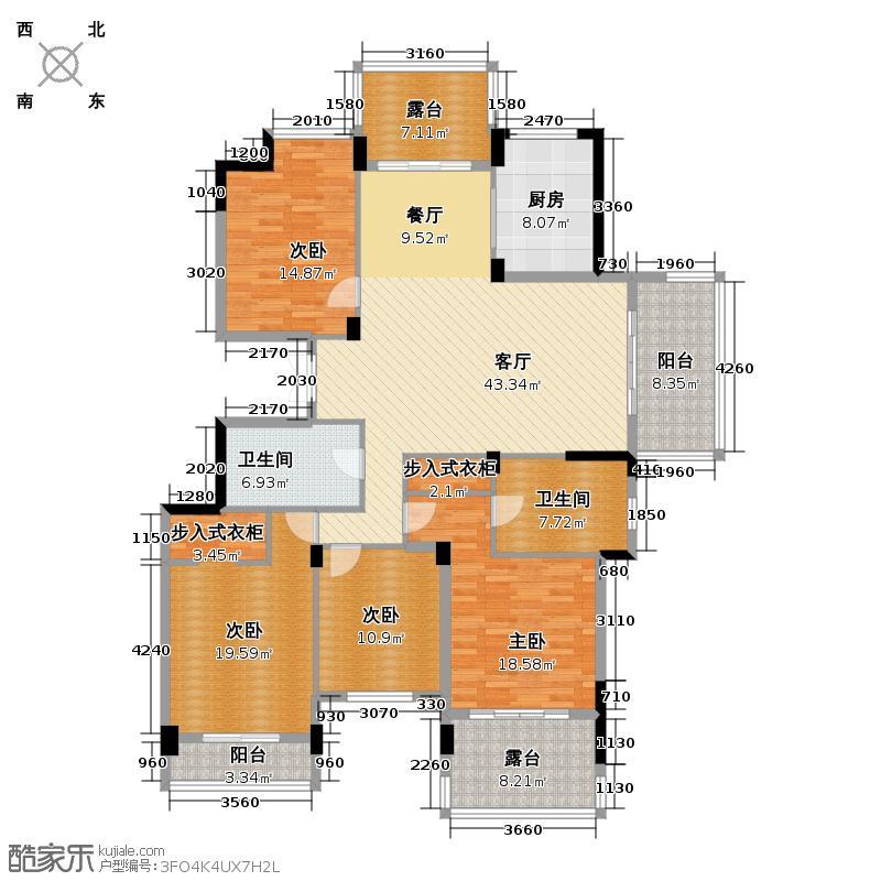 西溪里183.00㎡熙园1幢偶数层户型4室1厅2卫1厨