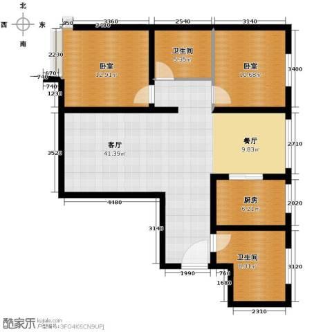 恒盛皇家花园3室1厅1卫0厨86.00㎡户型图