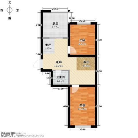 瀛滨寓家园2室0厅1卫1厨64.00㎡户型图