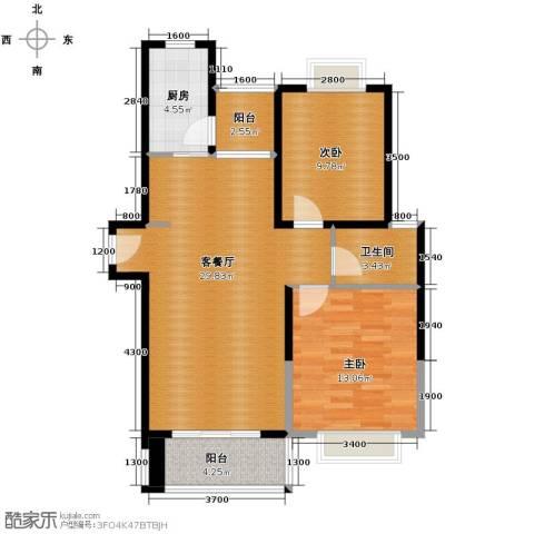 滨湖品阁2室1厅1卫1厨95.00㎡户型图