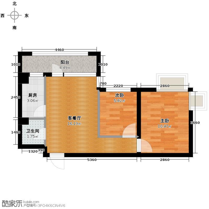乐城58.78㎡户型2室1厅1卫