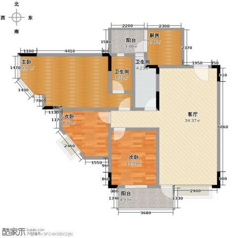 蓝色海岸3室1厅2卫1厨102.00㎡户型图