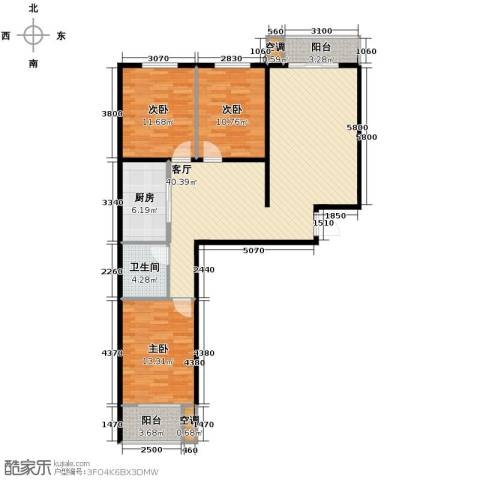 裕馨城二期3室2厅1卫0厨125.00㎡户型图