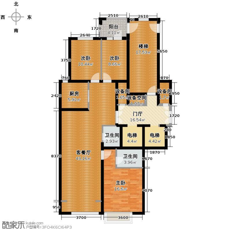 铁西万达广场137.46㎡A组团2号楼3号楼D、户型3室1厅2卫1厨