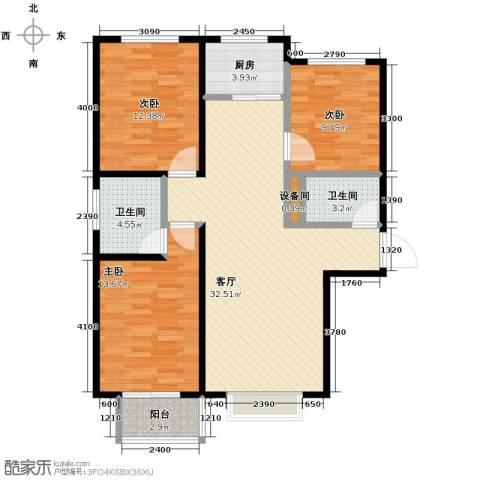 裕馨城二期3室2厅2卫0厨119.00㎡户型图