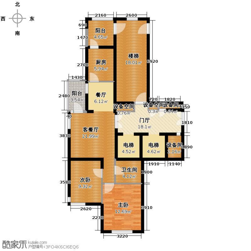 铁西万达广场86.08㎡A组团2号楼3号楼、户型2室1厅1卫1厨
