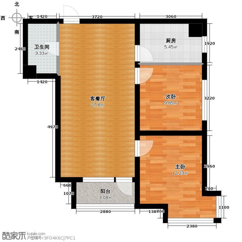 宏发长岛83.30㎡E户型2室2厅1卫