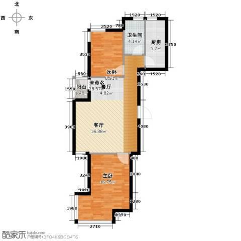 亚都名苑三期2室0厅1卫1厨91.00㎡户型图