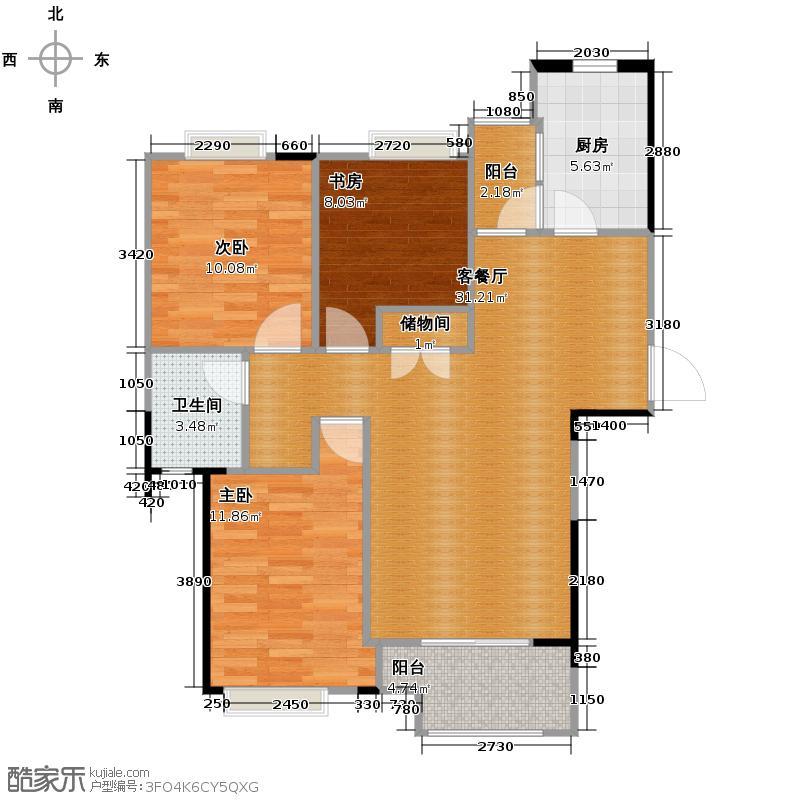 绿地中心102.00㎡C1户型3室2厅1卫