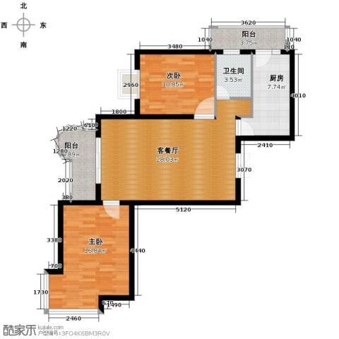 悦城2室1厅1卫1厨75.64㎡户型图